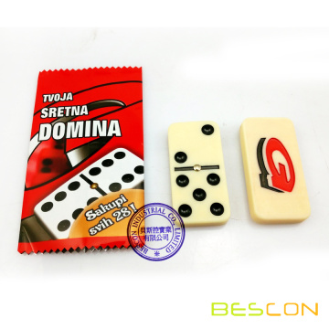 Custom domino with individual colored printed bag packing