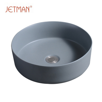 JM7849 360*360*120 Art round lavatory washing hand dark grey color sink art basin ceramic