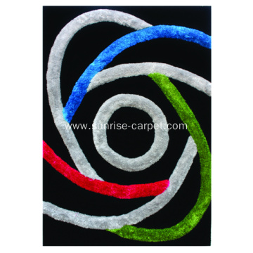 Polyester mix Shaggy Rug 3D design with Multi Color