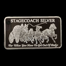 5 pcs Non magnetic The Brand new Stagecoach ingot bar silver plated coin 50 mm x 28 mm collectible souvenir decoration coin