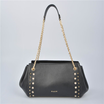 Exclusive Leather shoulder bag with double chain handles