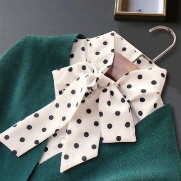Front Bow Tie False Collar Shirts Woman Dot Fake Collar Detachable Collars For Women Sweater Leopard Nep Kraagje Half Shirt