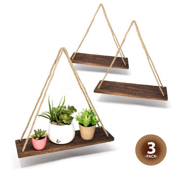 "17"" Reclaimed Wood Hanging Swing Rope Floating Shelves Set of 3"