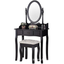 Black Vanity Table Oval Mirror Modern Dressing Table Designs