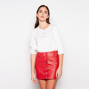 2020 New Fashion Red Ladies Pu Leather Skirt