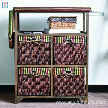 Pastoral Style Brown Folding Ironing Board Wooden Storage Cabinet with 4 Storage Drawers