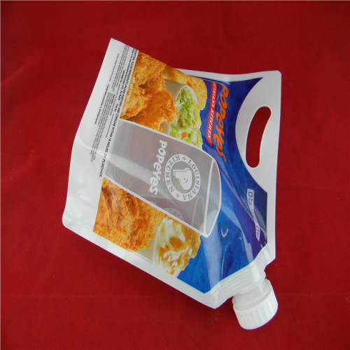 Custom stand-up spout-pouch for sauce-liquid  with handle