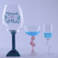 Mermaid Bird And Cactus Goblet Water Glasses With Animal Stem