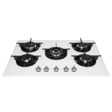 5-Burner Indesit Hob White Glass Top