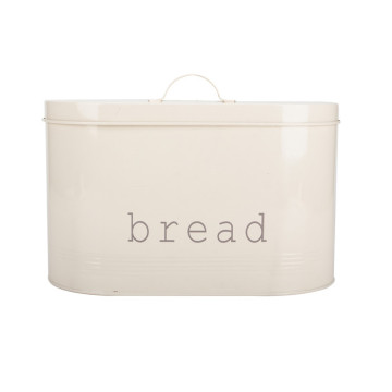 Oval Enamel Cream White Metal Bread Box
