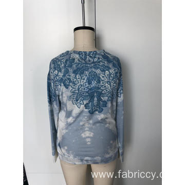 Round neck lace embroidery and tie-dye long sleeves