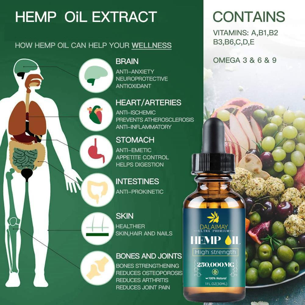 250000mg Organic Hemp Seed Oil Extract For Anxiety & Stress Relief Improve Sleep Soothing Fatigue Hemp Essential Oil Body Care