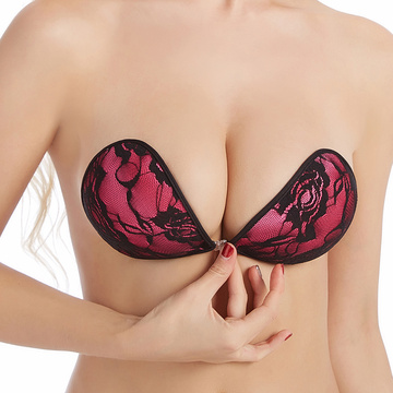 adhesive strapless lace cloth bra for women