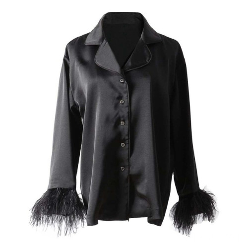 Black Button Up Long Feather Sleeve Women Blouse