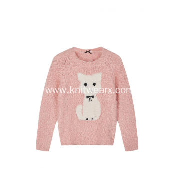 Girl's Knitted Puppy Jacquard Knot Feather Yarn Pullover