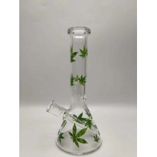 Glass Beaker Bongs with Luminous Green Bamboo Leaves