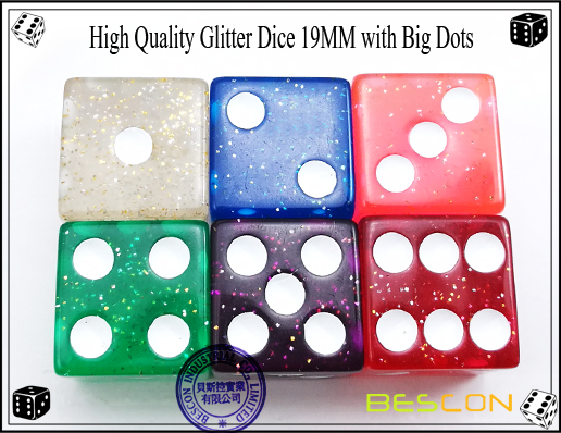 High Quality Glitter Dice 19MM with Big Dots-3