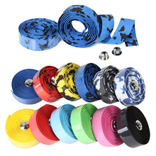 2pcs Bicycle Handlebar Tape Camouflage Cycling Handle Belt Cork Wrap with Bar Plugs Bicycle Accessories High Density