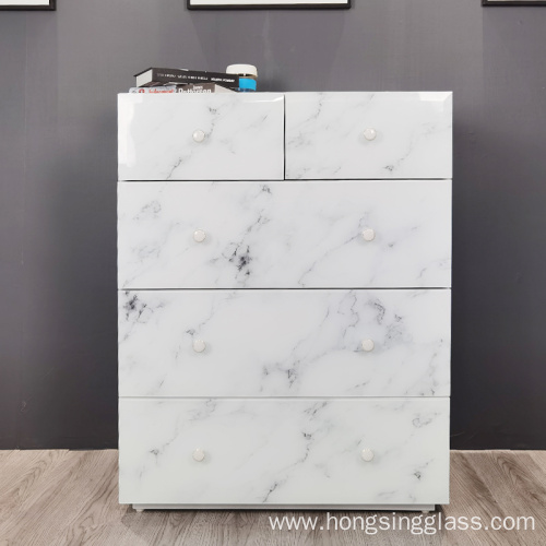White marble glass  5 drawer MDF cabinet