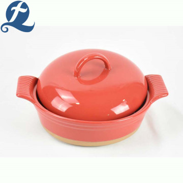 Ceramic Handle Baking Tray Hot-selling Ceramic Bakeware With Lid