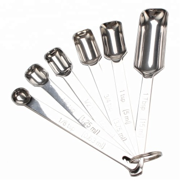 Stainless Steel Metal Measuring Spoons Set of 6