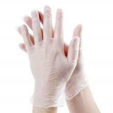 Colored disposable stretchy vinyl gloves