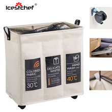 ICESTCHEF 600D Oxford Waterproof Laundry Basket With Wheels Collapsible Hamper Laundry Basket Dirty Clothes Washing Bag