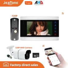 Jeatone 7'' Tuya WiFi IP Video Door Phone Intercom System+Waterproof 720P Mini Doorbell and CCTV Camera , Support Remote unlock