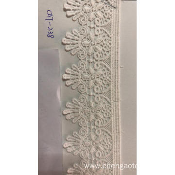 Hollow Five Petal Flower Trims Polyester Embroider Fabric