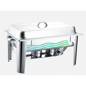 Rectangular stainless steel heating pot with two stoves