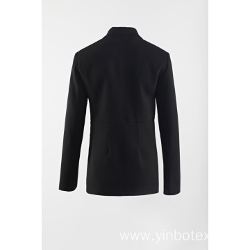 Black woven suit with pearl button