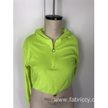 Fluorescent hooded cropped top