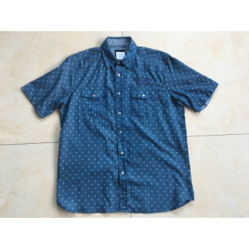 Denim Fabric Man Short Sleeve Shirt