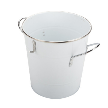 White Powder Coated Ice Bucket With Scoop