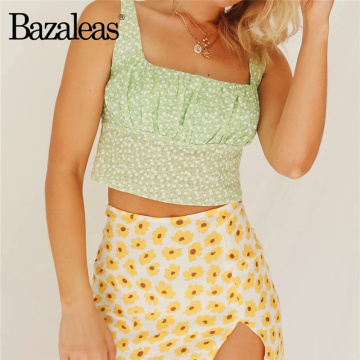 Bazaleas Light Green Floral Print Slim crop top Elastic Waist women Cropped Camis Fashion Women Tank Top