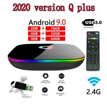 Q Plus Smart TV Box Android 9.0 TV Box 4GB RAM 32GB/64GB ROM Quad Core H.265 USB3.0 2.4G WiFi Set Top Box 6K TVBOX Media Player
