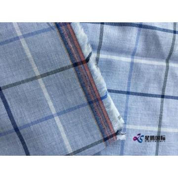 Light Blue Check Man Shirt Fabric