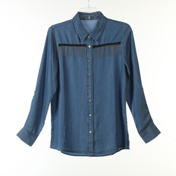 Tencel Demin Long Shirts with Tape