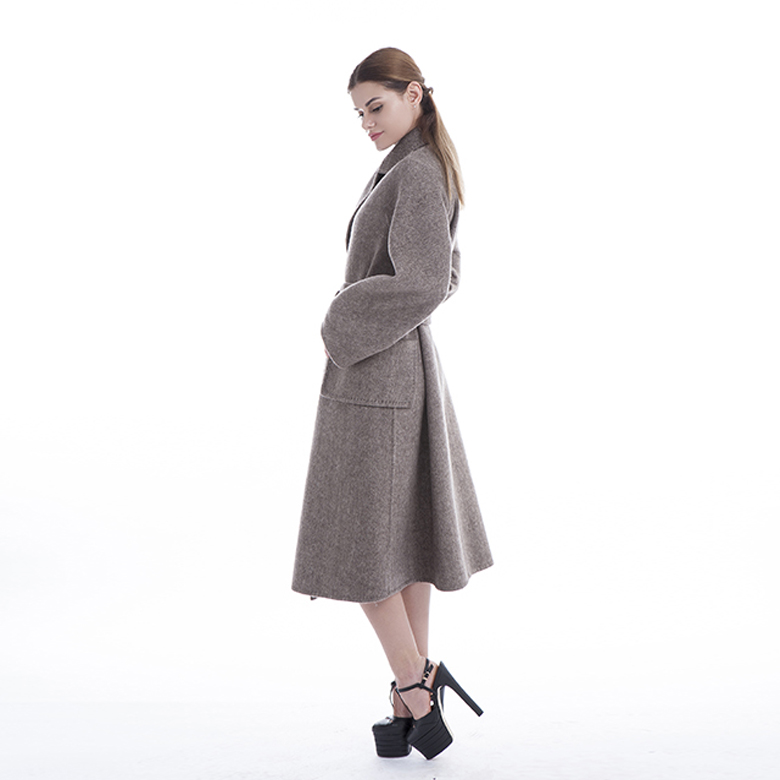 Ladies wear belted cashmere coats
