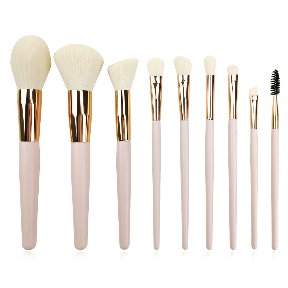 9pc Pink Makeup Brush Set