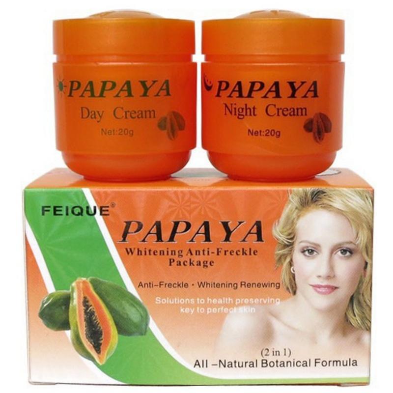 20g Day Cream + 20g Night Cream Papaya Whitening Face Cream Anti Freckle Improve Dark Skin Refreshing Face Skin Care