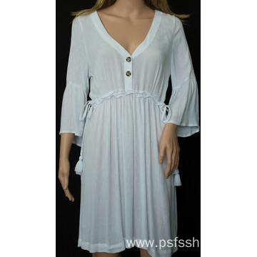 Long Sleeve with Tassels Design Short Dress