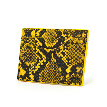 Bright Yellow Color Python Leather Credit Card Holder