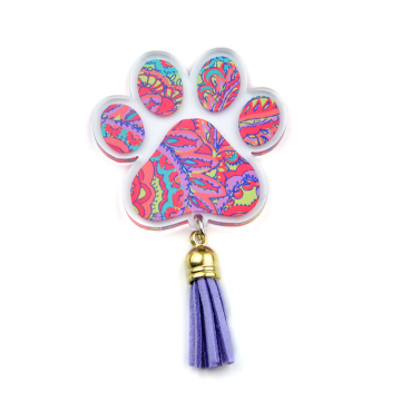 Cute Paw Print Acrylic Keychain Colored