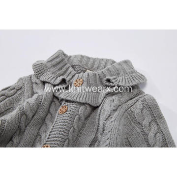 Girl's Knitted Ruffle Collar Cable Cardigan