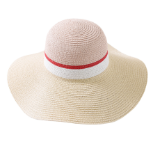Wide Brimmed Color Blending Design Paper Straw Hat