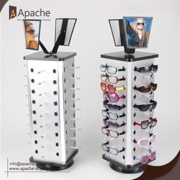 Rotatable Sunglasses Floor Display With Mirror