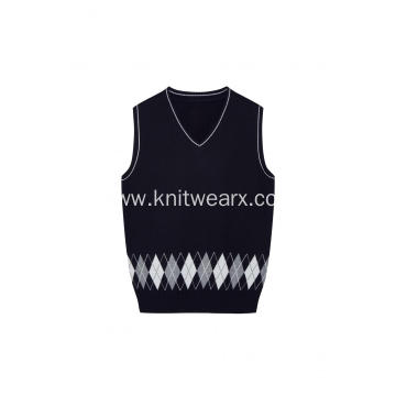 Boy's Knitted Diamond Jacquard Hem School Vest