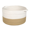 Home decorative handmade woven cotton rope baskets