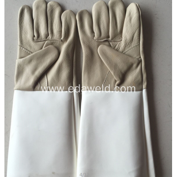 Gray Large Size Fireproof Leather Welding Gloves